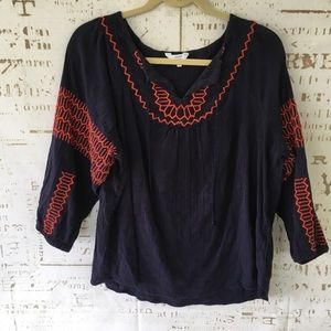 Crown & Ivy embroidered gauze boho top XL